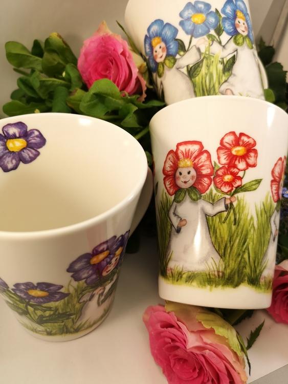 Mugg med blomsterbarn, 3 olika motiv