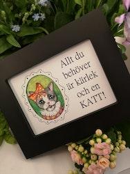 Tavla, katt med grönt