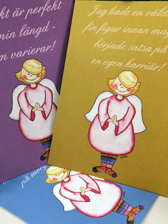 Kort i tre färger med änglar