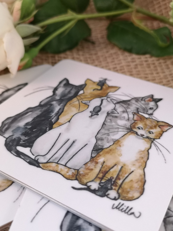 Glasunderlägg; katter motiv 1