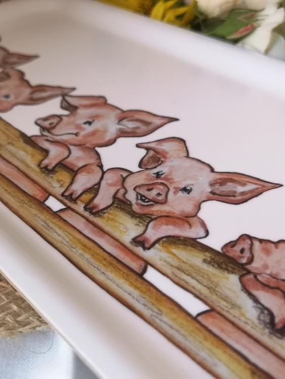 Avlång bricka med grisar