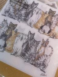 Servetter med katter