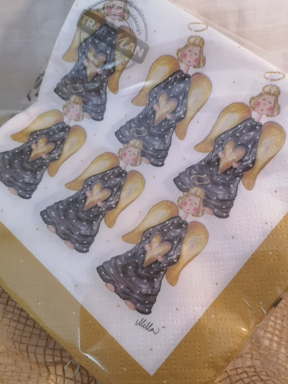 lunchservetter med änglar i svart och gult