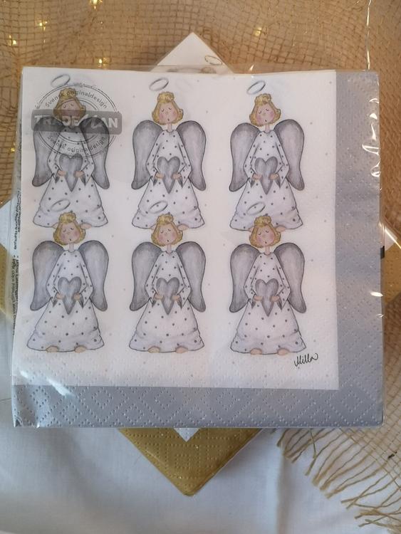 20-pack servetter med gråa änglar