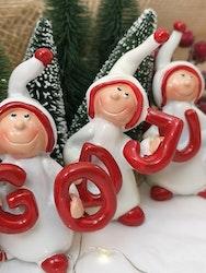 """""""God Jul"""" nissar i vitt och rött"""
