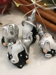 Tomte med silverfärgad luva