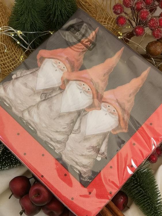 20-pack servetter med tomtar på rad