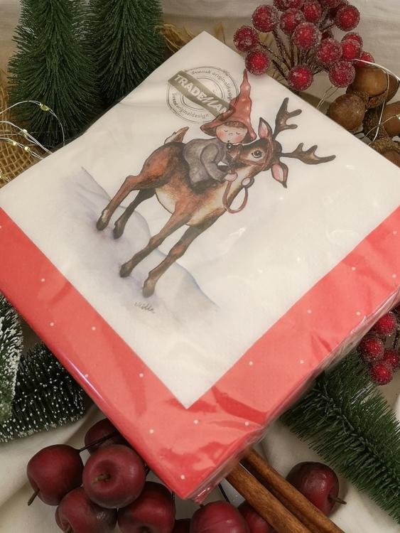 Rudolf med röda mulen på julservett
