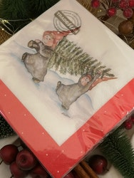 Servetter med nissar och julgran