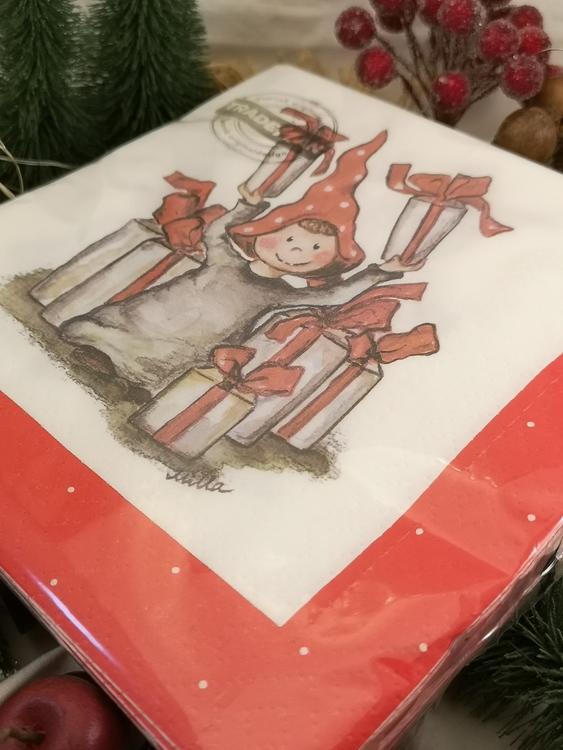 20-pack julservetter med tomte och julklappar