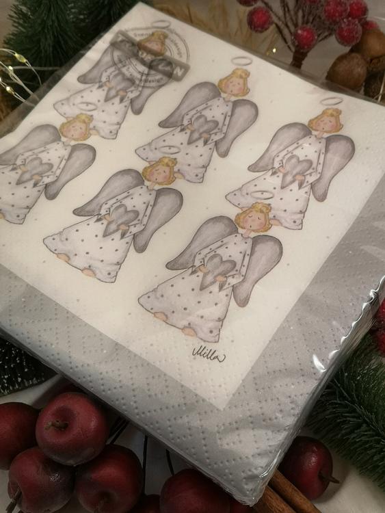 änglar i grått på servetter