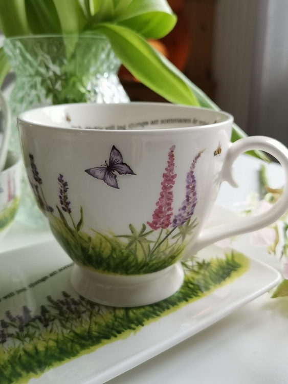 Fjäril och blommor syns på tekoppens ena sida.
