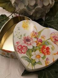 Hjärtformad plåtburk, vårbukett