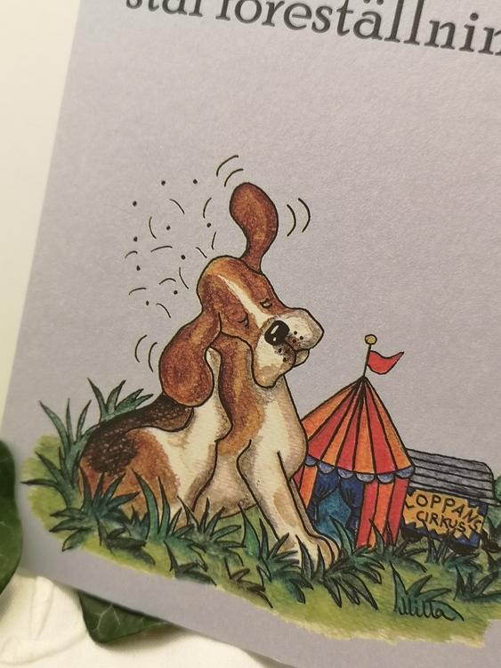 vykort med hund på blå botten