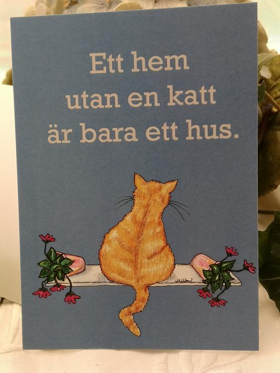 Gul katt på ljusblå bakgrund, vykort