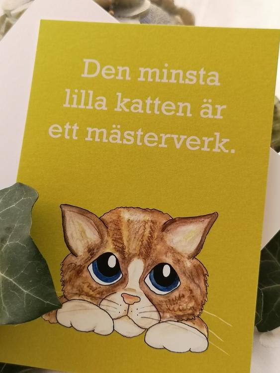 katt på gul bakgrund, vykort