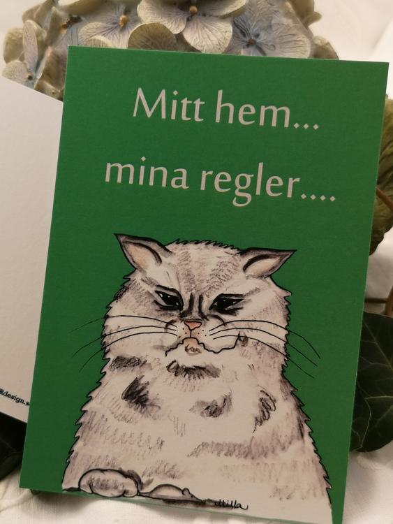 grå katt på grön bakgrund, vykort