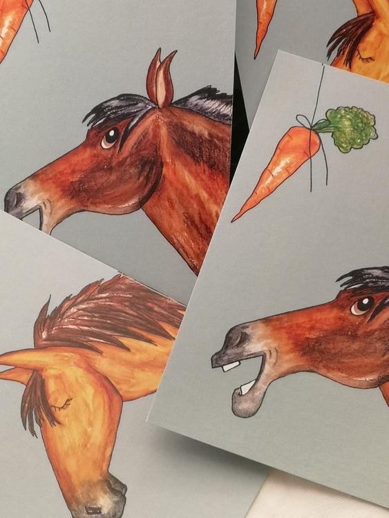 vykort med häst och morot