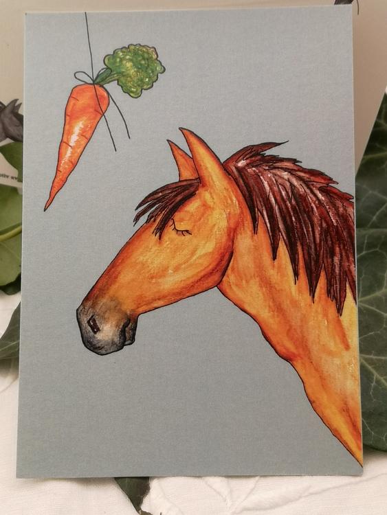 ljusbrun häst på vykort