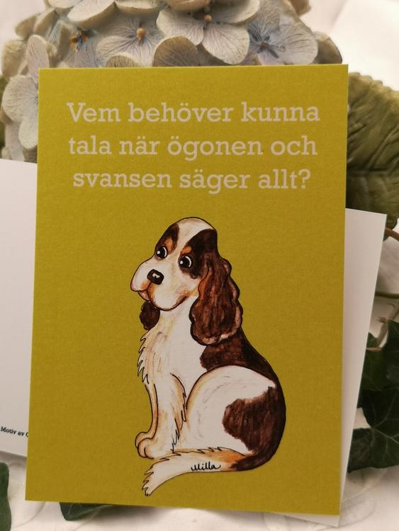 Vykort, färgglade hundar