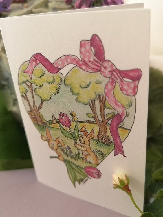 Dubbla kort med kaniner