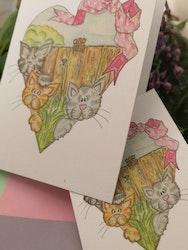 Dubbla kort med katter