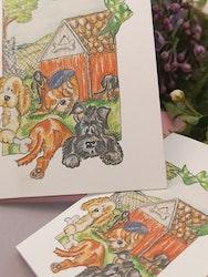 Dubbla kort med hundar