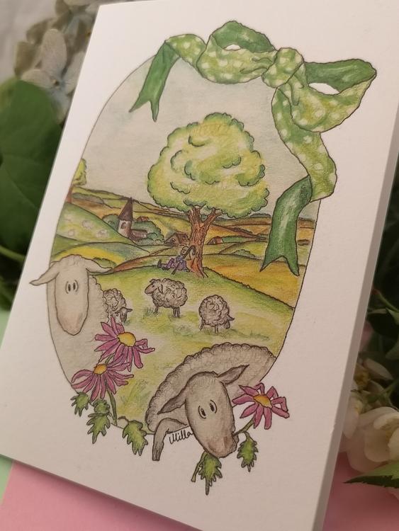 Dubbla kort med får