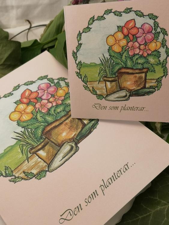 Trädgårdskort, rosa