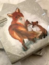 Servetter med rävar