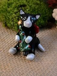 Katt med julgran