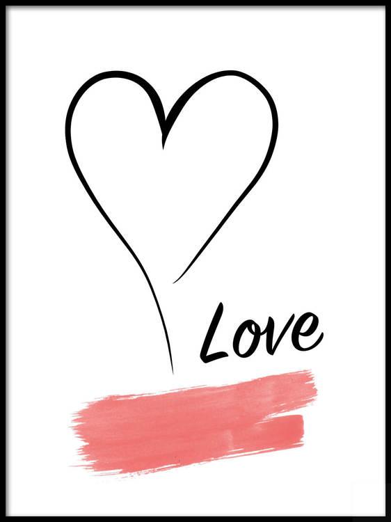Poster Love hjärta