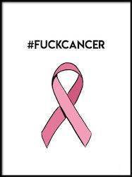 Poster #FUCKCANCER med rosa band