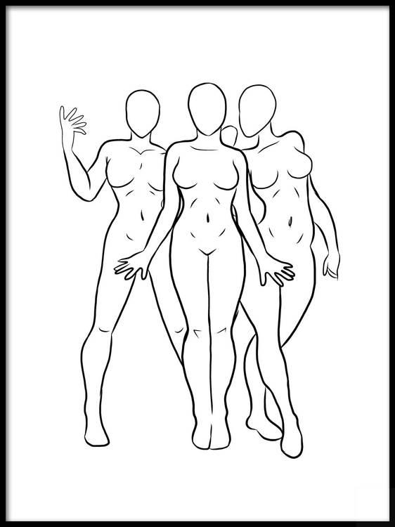 Poster Tre nakna kvinnor