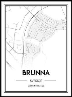 Poster Karta över Brunna
