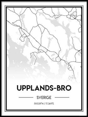 Poster Karta över Upplands-Bro