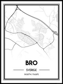 Poster Karta över Bro