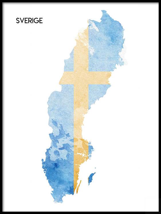 Poster Sverigekarta med flagga