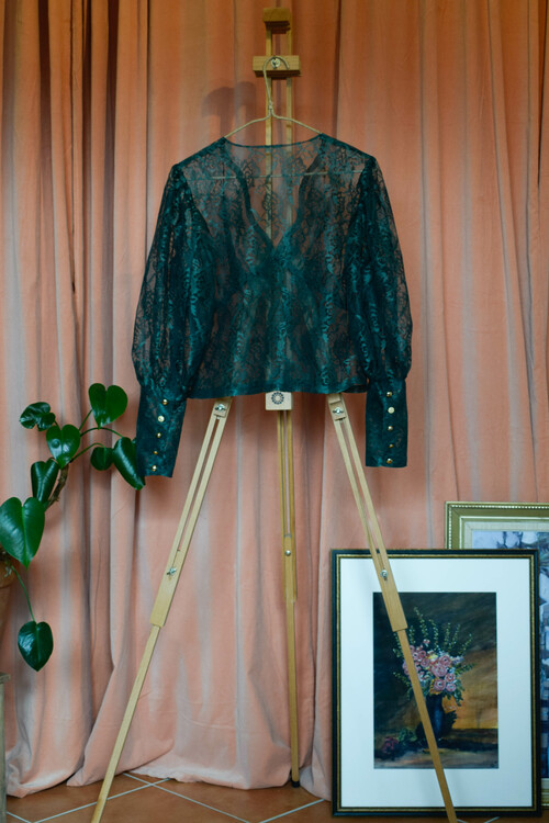 Britt blus - Grön spets