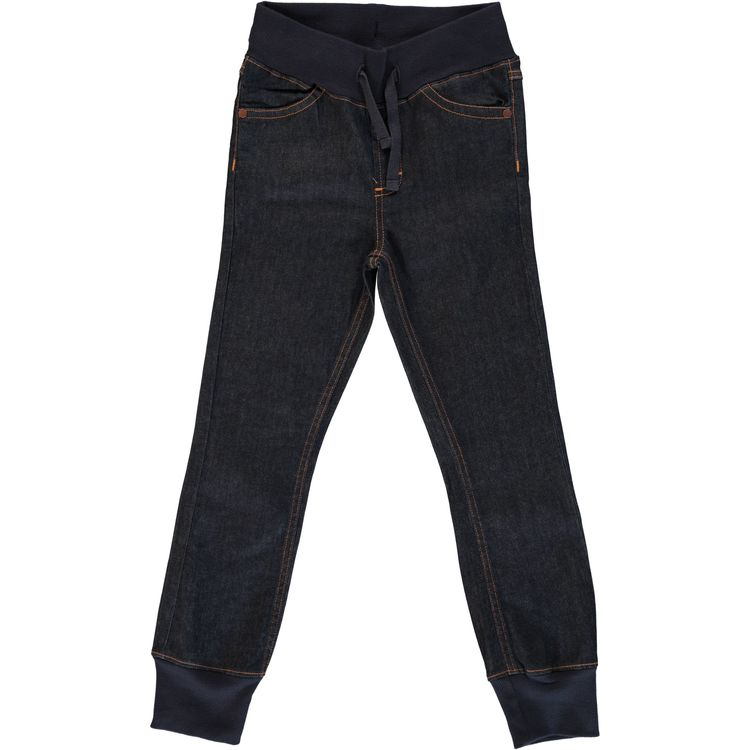 Maxomorra Pants Rib Denim Dark Blue Washed Jeans