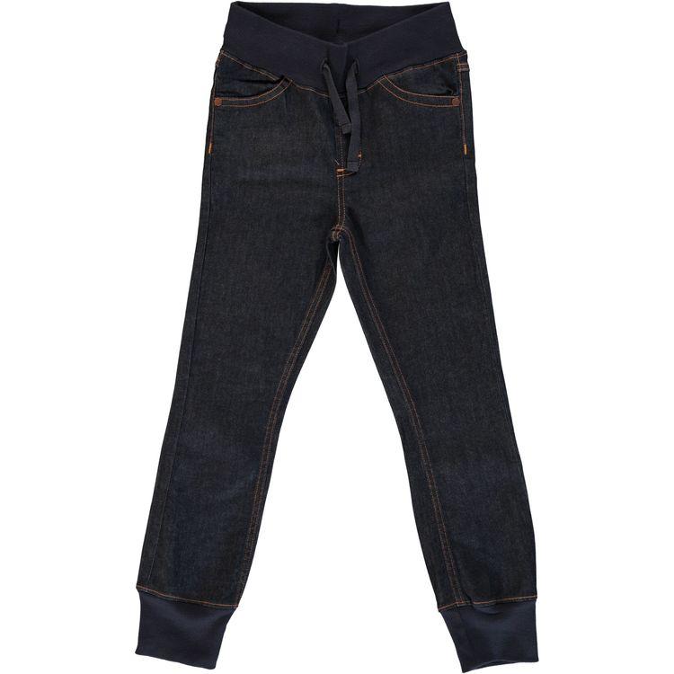 Maxomorra Pants Rib Denim Dark Blue Washed Jeans
