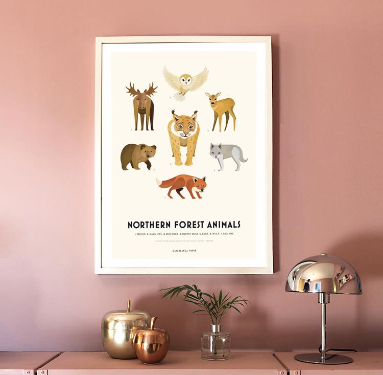 Poster Northern Forest Animals, Casablanca paper