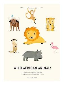 Poster Wild African Animals, Casablanca paper