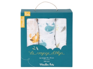 3-pack muslinfiltar 70 x 70 cm 'Le Voyage d'Olga', Moulin Roty