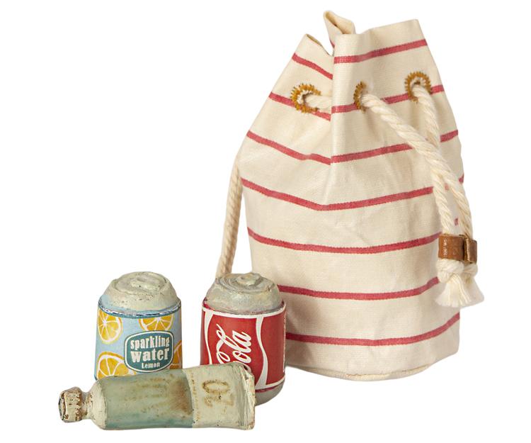 Strandväska med läsk och solkräm, Maileg