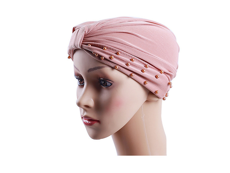 Jersey turban with pearls