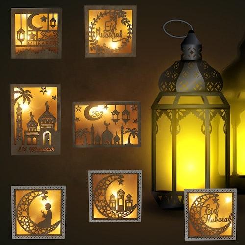 Dekorations lampa i ram