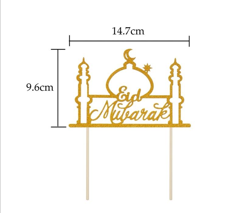 Eid Mubarak moské glitterpappers toppers