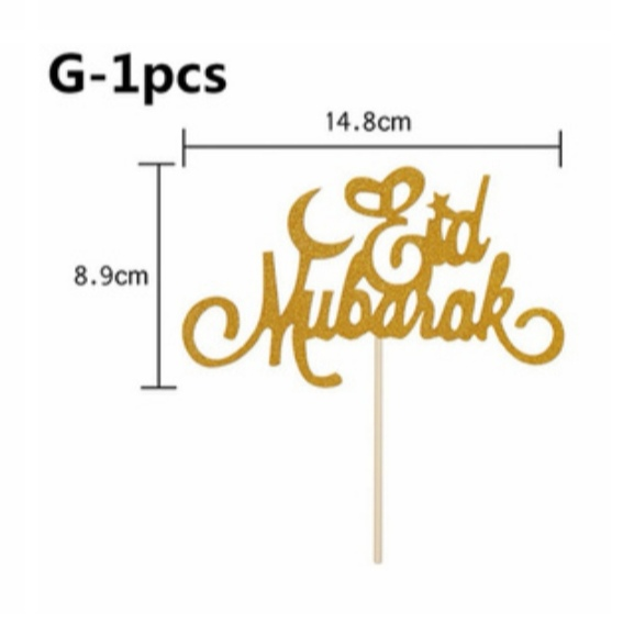 Eid Mubarak text guldglitter toppers