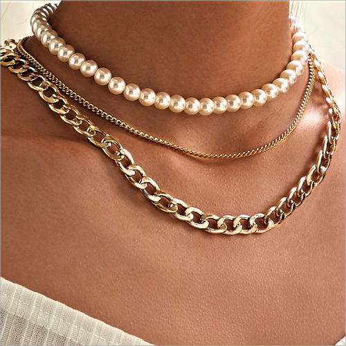 Vintage halsband kedja och pärlor